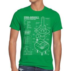 style3 Print-Shirt Herren T-Shirt 2600 VCS Computer 80er joystick classic gamer retro 2800 5200 c64 grün L