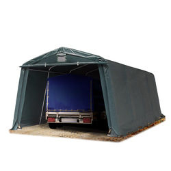 Toolport Zeltgarage 3,3x6,0m PVC 500 g/m² dunkelgrün wasserdicht Garagenzelt