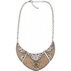 styleBREAKER Statementkette, Statement Halskette mit Perlen und Strass braun