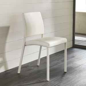 Esstischstuhl in Weiß Kunstleder und Stahl stapelbar (4er Set)