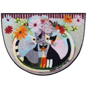 Fußmatte Rosina Wachtmeister Famiglia con fiore halbrund Fußmatte 60 x 85 cm waschbar, Salonloewe
