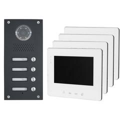 2 Draht Bus - 4 Familienhaus Video Türsprechanlage Klingelanlage Unterputz 4x 7 Zoll Monitor