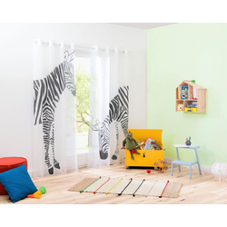 Gardine Zebra, my home, Ösen (2 Stück) 140 cm x 175 cm