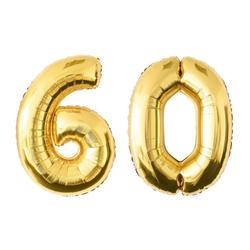 MyBeautyworld24 Folienballon Folienballon Zahlenballon in der Farbe gold Heliumballon Riesenzahl Geburtstag Deko Höhe 100 cm 60