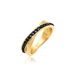 Ring Wickelring Zart  Kristalle 925 Silber Elli Schwarz