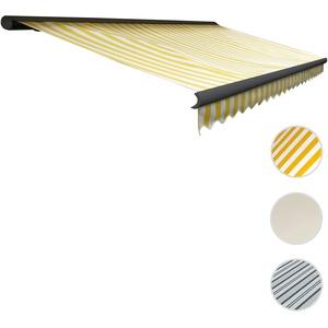 Elektrische Kassetten-Markise T122, Vollkassette Volant 4x3m ~ Polyester Gelb/Weiß, anthrazit