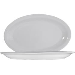 6 x Roma Uni weiß Platte oval 36cm * Saturnia