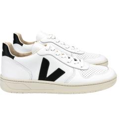 Veja - V10 Leather Extra Weiß Schwarz - Sneakers - Größe: 39