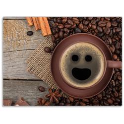 Wallario Schneidbrett Lustige Kaffeetasse mit einem Lächeln - Kaffeebohnen und Zimt, Glas, 30 x 40 cm