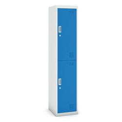Zweitüriger schrank, 1800 x 380 x 450 mm, grau/blau