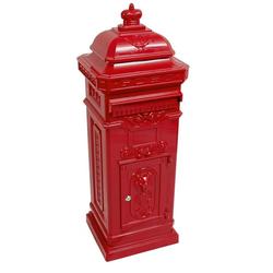 Standbriefkasten Antik Jugendstil Mod6 Briefkasten Postkasten Alu - Rot - Säulenbriefkasten - Englischer Briefkasten