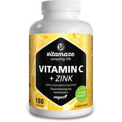 VITAMIN C 1000 mg hochdosiert+Zink vegan Tabletten 180 St.