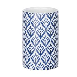 WENKO Lorca Keramik Zahnputzbecher, Zur Aufbewahrung von Zahnbürsten und Zahnpasta, 1 Stück, Farbe: blau