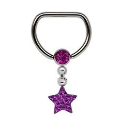 Adelia´s Brustwarzenpiercing Brustpiercing, Titan Brustpiercing D-Ring + 5 mm Klemm-Kugel mit Kette + Stern lila