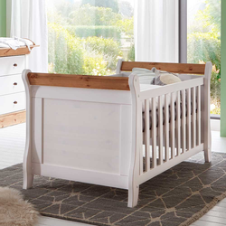 Landhausstil Babybett in Weiß Kiefer massiv umbaubar