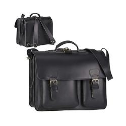 Ruitertassen Aktentasche Classic Satchel, 40 cm Lehrertasche mit 2 Fächern, auch als Rucksack zu tragen, dickes rustikales Leder schwarz