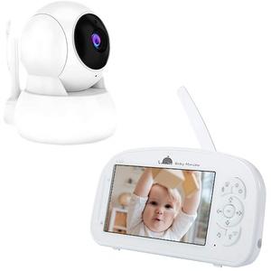 Babyphone mit Kamera Video Gegensprechfunktion 5 Zoll Großer LCD, 720P FHD Hohe Reichweite Babyfon, Nachtsicht Baby Monitor, 365° PTZ-Steuerung, Temperaturanzeige Baby Monitor, Schlaflieder, EU Plug