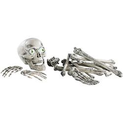 18-teiliges Grusel-Skelett: Totenschädel & Knochen mit Sound