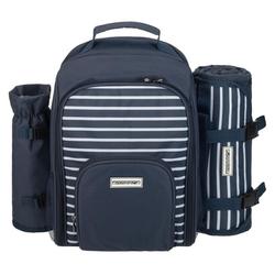 anndora Picknickrucksack 15 tlg. Zubehör + Picknickdecke blau-weiß gestreift -  | Navy + Picknickdecke