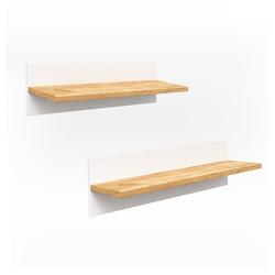 VitaliSpa® Wandregal MALIA Weiß Naturholz Bis Zu 5 KG 70 x 20 x 20 cm Massivholz