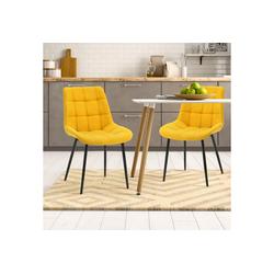 Merax Polsterstuhl LivingWohl 2 Stk.Esszimmerstühle, Wohnzimmerstuhl Sessel Stoffkissen-Akzentstühle, Macaron-Farben gelb