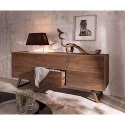 DELIFE Sideboard Wyatt, Akazie Braun 177 cm mit 2 Türen 2 Schübe Design Sideboard braun 177 cm x 70 cm x 45 cm