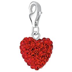 Amor Charm-Einhänger Herz, 9008056, mit Kristallglas rot