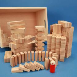Set aus 200 flachen Baukltzen Grundma 3 x 1,5 cm in der Buchekiste
