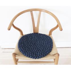 Wooldot Sitzkissen Uni Color, rund, Filzkugel-Teppich, reine Wolle, auch als Set bestellbar blau