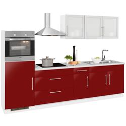 wiho Küchen Küchenzeile Aachen, ohne E-Geräte, Breite 290 cm rot