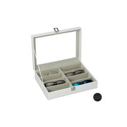 relaxdays Aufbewahrungsbox Brillenbox für 8 Brillen weiß