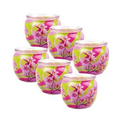 HS Candle Duftkerze (6-tlg), Kerze im Glas, Motiv-Kerze im 6er Pack mit ca. 22 Std. Brenndauer, Höhe: 6cm, Ø7cm rosa