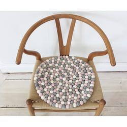 Wooldot Sitzkissen Mixed Color, rund, Filzkugelteppich, Wolle, auch als Set bestellbar rosa