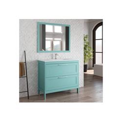 Lomadox Waschtisch-Set TARIFA-110, (Spar-Set, 2-tlg), Badmöbel Landhaus Waschtisch mit Keramikbecken & Landhaus-Spiegel deep blue, B/H/T ca. 101/200/45cm blau 101 cm x 200 cm x 45 cm