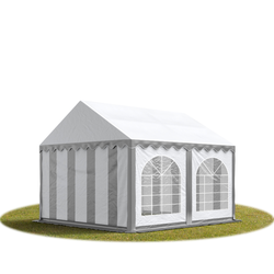 Toolport Partyzelt 3x3m PVC 500 g/m² grau wasserdicht Gartenzelt, Festzelt, Pavillon