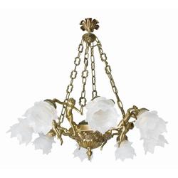 Licht-Erlebnisse Kronleuchter PUTTI Pendelleuchte Jugendstil 8-flmg Echt-Messing Bronze Glas Handarbeit