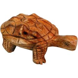 Guru-Shop Dekofigur Geschnitzte kleine Deko Figur - Schildkröte 2