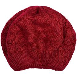 styleBREAKER Baskenmütze Strick Baskenmütze mit Zopfstrick Muster Strick Baskenmütze mit Zopfstrick Muster rot