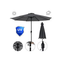 Mucola Sonnenschirm Sonnenschirm Marktschirm Ø3m LED Beleuchtung Strandschirm Gartenschirm UV-Schutz Ampelschirm Sonnenschutz Kurbelschirm Balkonschirm, Premium-Sonnenschirm, LED-Beleuchtung grau