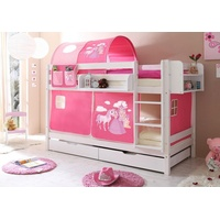 TICAA Etagenbett Marcel inkl. Textil-Set Prinzessin weiß/pink