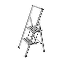 Klapptrittleiter 2-stufig Aluminium grau Wenko 601011100 (BHT 43,5x103,5x5,5 cm) Wenko