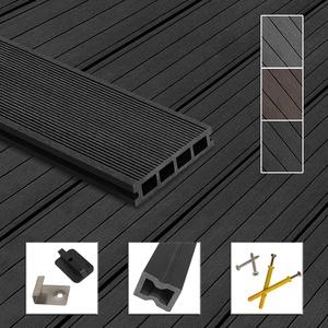 Montafox WPC Terrassendielen Dielen Komplettset Hohlkammerdiele Komplettbausatz Unterkonstruktion Clips, Größe (Fläche):46 m2 2.2m, Farbe:Anthrazit