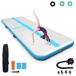 COSTWAY Trainingsmatte Air Track Gymnastikmatte Tumbling Matte Turnmatte, mit elektrischer Pumpe, aufblasbar, inkl. Tragetasche blau