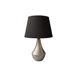 dynamic24 Nachttischlampe, Homea Design Keramik Tischlampe 41cm Tischleuchte Nachttisch Lampe Leuchte schwarz