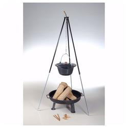 acerto® Feuerstelle acerto® Ungarischer Gulaschkessel 30L + Dreibein-Gestell 180cm + Feuerschale 80cm + Kaminholz Buche