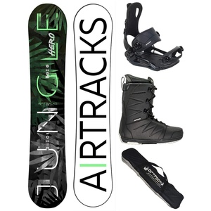 Airtracks Snowboard Set/Board Jungle Hero Wide Hybrid Rocker 152 + Snowboard Bindung Master + Boots Master QL 43 + Sb Bag