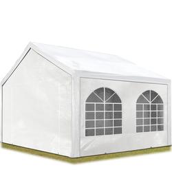 Toolport Partyzelt 3x3m PE 240g/m² weiß wasserdicht Gartenzelt, Festzelt, Pavillon
