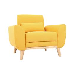 Design-Sessel Stoff Gelb und Füße Eiche EKTOR