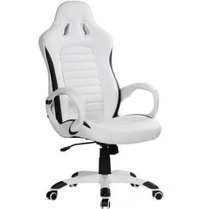 AMSTYLE Racer Gaming-Stuhl, Kunstleder weiß, mit Armlehnen, SPM1.212