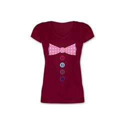 Shirtracer T-Shirt Clown Kostüm rosa Fliege - Karneval & Fasching - Damen T-Shirt mit V-Ausschnitt - T-Shirts fliege clown XXL